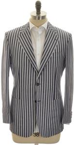 Kiton Sport Coat Jacket 2B Cotton Linen 40 50 R9 Blue White 01SC0167