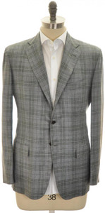 Kiton Sport Coat Jacket 3B Cashmere Blend 42 52 Gray Green Plaid