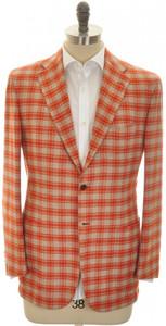 Kiton Sport Coat Jacket 3B Cashmere 40 50 Orange Gray Check 01SC0174