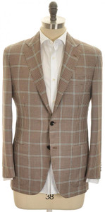 Kiton Sport Coat Jacket 2B Cashmere Silk 40 50 Brown Blue Check