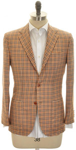 Kiton Sport Coat Jacket 3B Cashmere Silk 38 48 Brown Rust Check 01SC0177