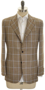 Kiton Sport Coat Jacket 3B Wool Silk Linen 40 50 Brown Blue Check