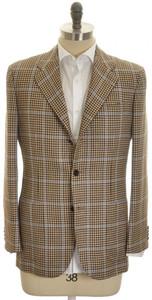 Kiton Sport Coat Jacket 3B Wool Silk Linen 40 50 Brown Blue Check 01SC0185