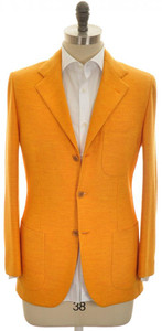Kiton Sport Coat Jacket 3B Wool Jersey 38 48 Orange Solid 01SC0184