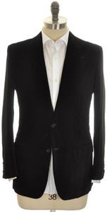 Kiton Sport Coat Jacket 2B Peak Lapel Cotton Velvet 40 50 Black 01SC0194