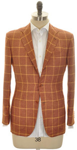 Kiton Sport Coat Jacket 3B Silk Cashmere 38 48 Brown Windowpane