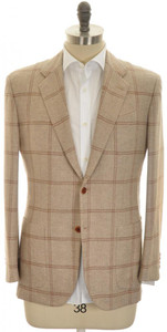 Kiton Sport Coat Jacket 'EGO' 2B Cashmere 40 50 Brown Windowpane