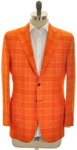 Kiton Sport Coat Jacket 2B Cashmere Silk 40 50 Orange Plaid