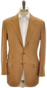 Kiton Sport Coat Jacket 3B Cashmere 42 52 Brown Herringbone