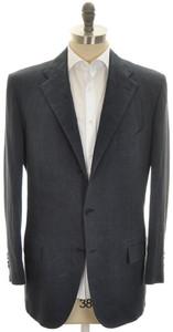 Kiton Sport Coat Jacket 3B Cotton Linen 46 56 Washed Blue Solid