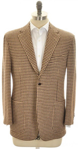 Kiton Sport Coat Jacket 3B Heavy Cashmere 42 52 Brown Check