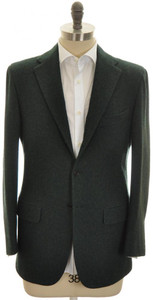 Kiton Sport Coat Jacket 3B Heavy Cashmere Flannel 40 50 Green 01SC0204