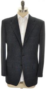 Kiton Sport Coat Jacket 3B Wool Silk Cashmere 42 52 Blue Plaid 01SC0209