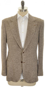 Kiton Sport Coat Jacket 2B Peak Lapel Linen 40-42 50 Brown