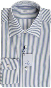 Barba Napoli Dress Shirt Cotton 15 1/2 39 Blue Green Stripe 11SH0191