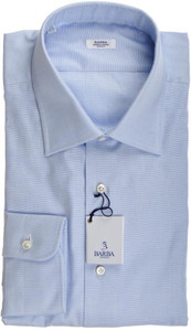 Barba Napoli Dress Shirt Cotton 17 1/2 44 Blue Micro Solid 11SH0190