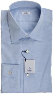 Barba Napoli Dress Shirt Cotton 16 1/2 42 Blue Solid 11SH0186