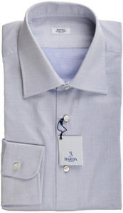 Barba Napoli Dress Shirt Cotton 16 1/2 42 Blue Micro Fancy 11SH0185