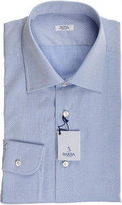 Barba Napoli Dress Shirt Cotton 16 1/2 42 Blue Tonal Fancy 11SH0184