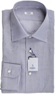 Barba Napoli Dress Shirt Cotton Linen 16 1/2 42 Blue White Stripe 11SH0183