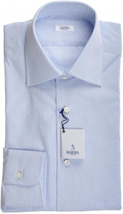 Barba Napoli Dress Shirt Cotton 14 1/2 37 Blue Micro 11SH0182