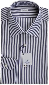 Barba Napoli Dress Shirt Cotton 16 41 Blue White Stripe