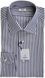 Barba Napoli Dress Shirt Cotton 16 41 Blue White Stripe 11SH0181