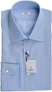 Barba Napoli Dress Shirt Cotton Linen 16 1/2 42 Blue White Stripe 11SH0180