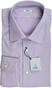 Barba Napoli Dress Shirt Cotton 18 45 Pink Blue Dot 11SH0179