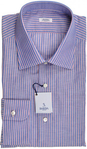 Barba Napoli Dress Shirt Cotton 17 1/2 44 Blue Red Stripe 11SH0176
