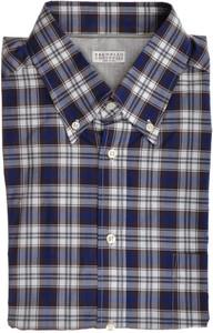 Brunello Cucinelli Shirt Cotton XLarge Blue Brown Plaid 02SH0194