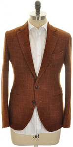 Boglioli 'Grant' Sport Coat Jacket 2B Wool Silk 40 50 Brown 24SC0217