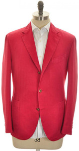 Boglioli 'Coat' Sport Coat Jacket 3B Cotton Linen 44 54 Red 24SC0213