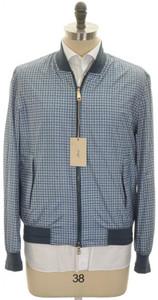 Brioni Bomber Jacket Coat Silk W/ Leather XLarge Blue Check 03OT0111