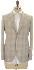 Boglioli 'York' 3B Sport Coat Fine Cotton 38 48 Brown Blue Plaid