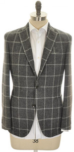 Boglioli 'Dover' 3B Sport Coat Jacket Wool 38 48 Gray Windowpane 24SC0247