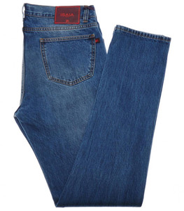 Isaia Napoli Selvedge Washed Denim Jeans Cotton 38 Blue 06JN0139