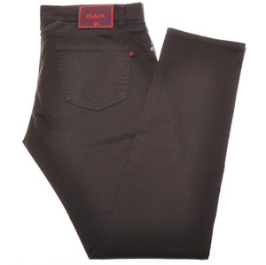 Isaia Napoli Denim Jeans Cotton Stretch 36 Dark Brown 06JN0175