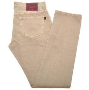 Isaia Napoli Selvedge Denim Jeans Cotton 38 Khaki Brown