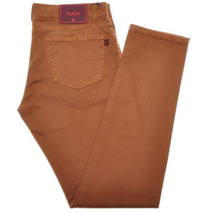 Isaia Napoli Denim Jeans Cotton Stretch 34 Rust Brown 06JN0158