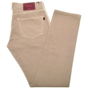 Isaia Napoli Selvedge Denim Jeans Cotton 33 Khaki Brown 06JN0156