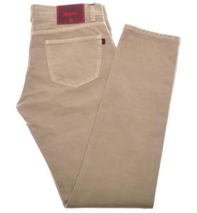 Isaia Napoli Selvedge Denim Jeans Cotton 42 Khaki Brown