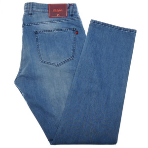 Isaia Napoli Selvedge Denim Jeans Cotton Stretch 40 Blue 06JN0192