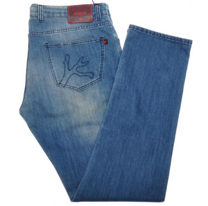 Isaia Napoli Selvedge Denim Jeans Cotton W/ Logo Pocket 40 Blue