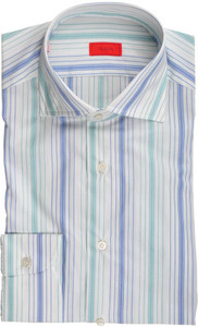 Isaia Napoli Dress Shirt Cotton 39 15 1/2 Blue Green Stripe 06SH0121
