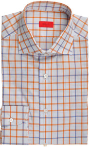 Isaia Napoli Dress Shirt Cotton 39 15 1/2 Blue Rust-Brown Plaid 06SH0112