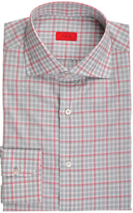 Isaia Napoli Dress Shirt Cotton 39 15 1/2 Gray Red Check 06SH0111