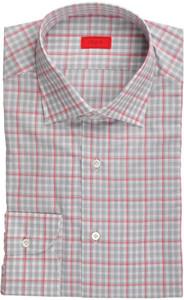 Isaia Napoli Dress Shirt Cotton 39 15 1/2 Gray Red Check 06SH0109