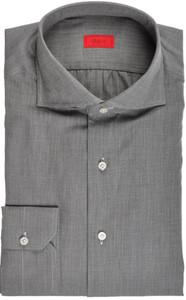 Isaia Napoli Dress Shirt Cotton 41 16 Gray Herringbone