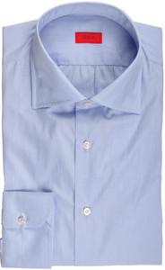 Isaia Napoli Dress Shirt Cotton 41 16 Blue Micro Stripe
